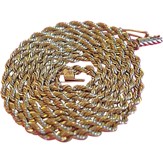 "Vintage 14 karat Yellow Gold Rope Chain Necklace 21"" - Artist Michael Anthony"