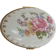 Hand-painted porcelain Floral Easter Egg Trinket Box - made in Limoges France