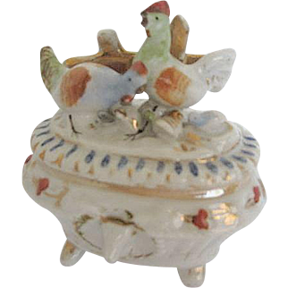 Antique Staffordshire Porcelain Fairing with Rooster, Hen and chicks Dresser Trinket Box - England