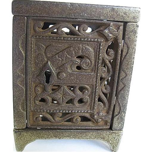 Cast Iron Footed Still Safe Bank - Patent June 2, 1886 - J.E. Stevens