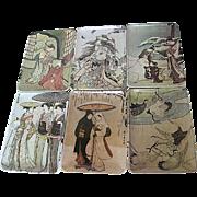 Vintage Mebel Asian Motif Melaine art tip/coaster trays - made in Italy - set of 12