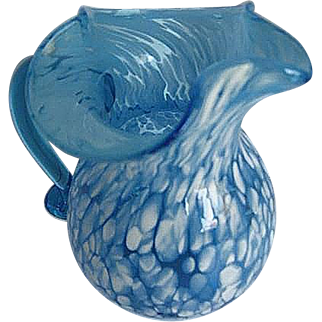 Hand blown Blue glass with white spatter small pitcher - rough pontil