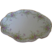 "1900 c. Limoges Elite Purple Floral & Fauna 12"" Oblong Serving Platter - Made in France"