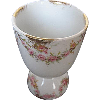 Theodore Haviland Limoges Double Egg Cup - made in France - Hand-painted - signed