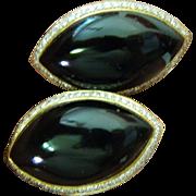 Designer-14ct. gold-onyx and diamonds earrings
