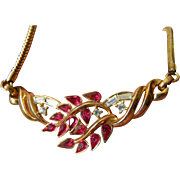 Vintage signed crown Trifari jeweled necklace