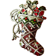 Jeweled Christmas stocking pin