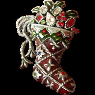 Jeweled Christmas stocking pin
