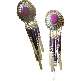 Hand made Native American earrings-signed