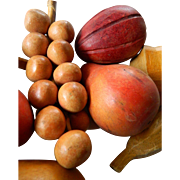 Hand carved wood fruit