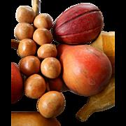 Hand carved wood fruit