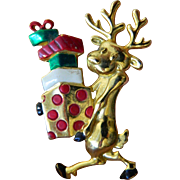 Shopping reindeer pin-christmas