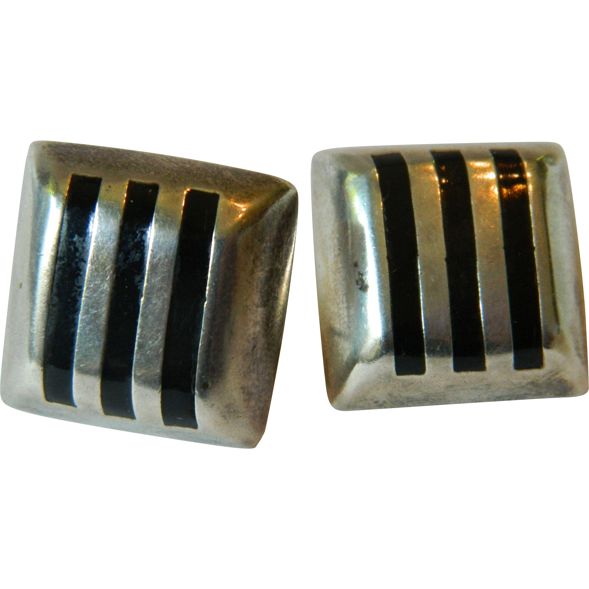 Inlayed onyx-sterling Mexican earrings