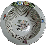 Herend Hand-painted Porcelain Open basket-weave pattern bowl wapplied floral & fauna, painted birds, insects, gold trim - made in Hungary