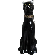 Limoges - Porcelain Hand-painted Black Panther figurine hinged box w/chain - made in France