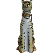 Limoges - Porcelain Hand-painted Tiger figurine hinged box w/chain - made in France