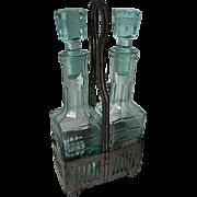 Mid Century - Aqua blue glass cruet vineger & Oil Set - Footed Metal carrier