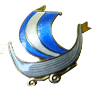 Norway sterling-enameled pin-signed