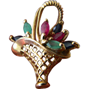 14k. Gold charm/ pendant with Precious stones