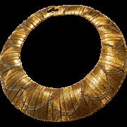 Signed Les bernard collar -paneled -jeweled necklace