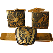Damascene-Spain- tie clip with cuff links