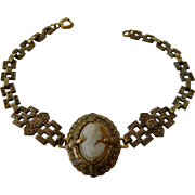 Brass-shell cameo-Victorian bracelet- NOW on SALE!!!!-$49