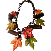 Celluloid chain and leaves necklace