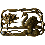 Vintage open work Swan pin