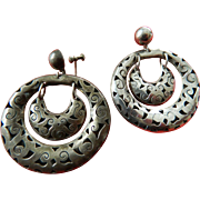 Mexican sterling double hoop earrings