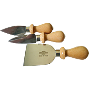 Italian -Chrome and wood cheese knives