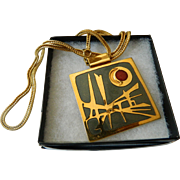 Signed designer -Enameled pendant with chain
