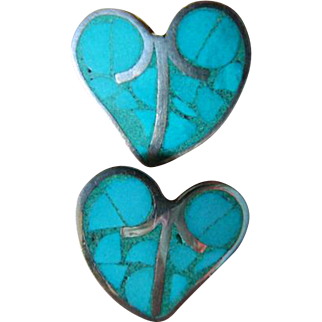 Sterling-turquoise-Taxco earrings