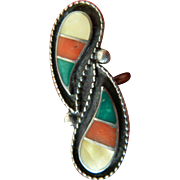 Silver- Mop-turquoise and coral ring