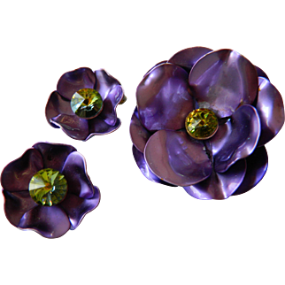 Metallic purple pin with earrings