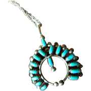 Vintage Zuni- petti point turquoise-silver Pendant with chain