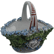 Vintage Elfinware mini porcelain basket w/flowers & fauna - made in Germany