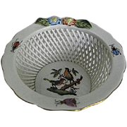 HEREND Rothschild Bird Openwork Basket w/Flowers - made in Hungary - Handpainted