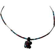 Native American colorful stone carved necklace