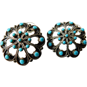 Native American sterling -turquoise earrings