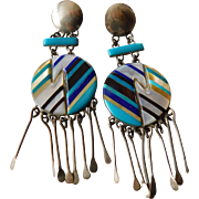 Fabulous drop chandelier Native American made earrings