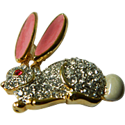 Jeweled rabbit pin- trembling ears-pin