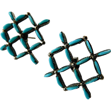Zuni petit point sterling and turquoise earrings