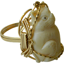 Carved bone cat ring
