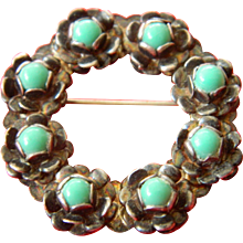 Wonderful vintage Mexico-sterling with turquoise pin