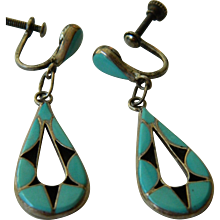 Southwest silver and turquoise earrings-Vintage 1930's