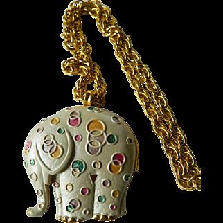 Elephant pin/pendant/chain-enameled
