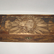 Antique 1909 Flemish Pyrography Native American Folk Art box