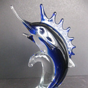 Hand Blown Art Glass Marlin/Sailfish statue = Zibo
