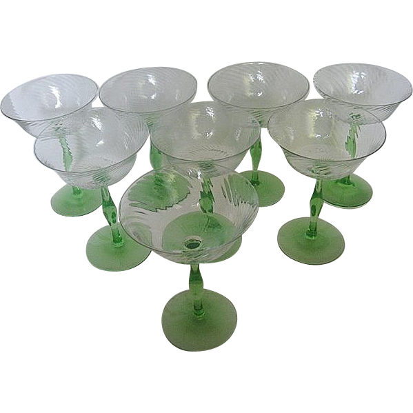 Eight vintage green stem spiral optic crystal champagne for Thin stem wine glasses