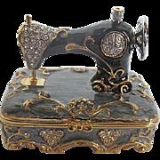Enameled and Rhinestone Sewing Machine Trinket box